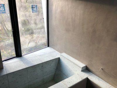 浴室左官工事 モラート仕上げ